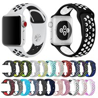 Soft Silicone Replacement Wristband for Apple Watch Series 1 2 3 Breathable hole iwatch band 42mm iwatch band 38mm strap