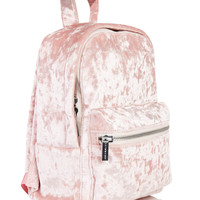 Pink Crushed Velvet Backpack