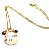 Twin Garnet Pair January Birthstone 22K Gold Library Dewey Decimal Librarian Necklace
