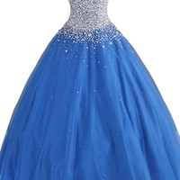 COCOMELODY Women's Strapless Sweetheart Ball Gown Long Beaded Lace Up Prom Dress