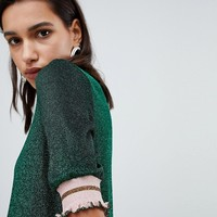 Vero Moda Glitter Knitted Top With Stripe Tipping at asos.com
