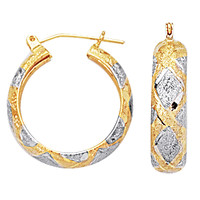 10K 2 Tone White And Yellow Gold Diamond Cut Textured Round Hoop Earrings