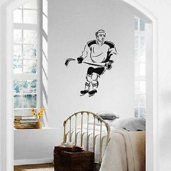 Wall Stickers Vinyl Decal Ice Hockey Winter Sports Athlete Unique Gift ig1496