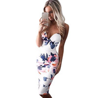 Women Bandage Bodycon Sleeveless Deep V Neck Dresses Floral Print Chinese Style Sexy Evening Party Dress LE3