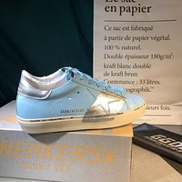 Golden Goose Ggdb Hi Star Sneakers In Sky Blue Leather And Silver Leaf Strap