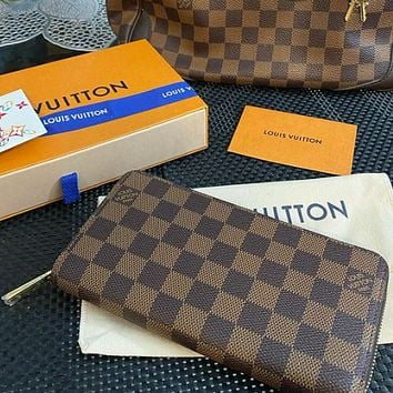 Louis Vuitton LV Trending Men Leather Zipper Wallet Purse Clutch Bag