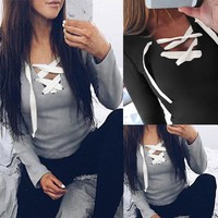Lace Up Top (Black, Gray) - Fashion Women's Ladies Summer Long Sleeve Shirt Loose Casual Blouse Tops T-Shirt