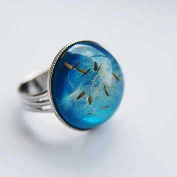 Blue Dandelion Ring  Turquoise 01 Resin Ring Dandelion Seeds Resin Jewelry Botanical Ring Adjustable Nature Wish Childhood Memory