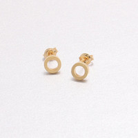 Hand Touch Textured Tiny Mini Open Circle Stud Earrings