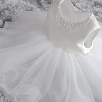 Infant Snow White Dresses For Baptism Christening Gown Newborn 1st Birthday Baby Girl Outfits Toddler Girl Tulle Party Dresses