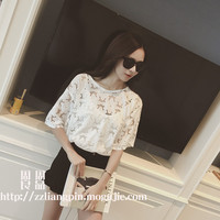 Microlens fresh flowers loose thin solid color shirt