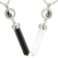Yin Yang Love Couple Amulets Crystal Points Simulated Onyx White Cats Eye Pendant Necklaces