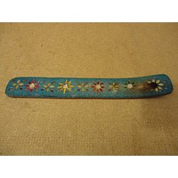 Handcrafted Incense Holder 10in L x 1 1/2in W Blues/Reds/Yellows Wood Plastic -- Used