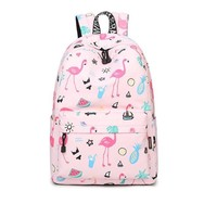 Girls Waterproof School Backpack  Pink Flamingo