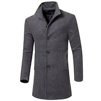 Men Peacoat Stand Collar Breasted Trench Coat 6397
