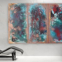 View: Fluid intuitive paintings 120x190x4 cm abstract Large painting A077 XXXL PAINTINGS OOAK emerald copper decor original big art ready to hang painting acrylic on stretched canvas wall art by artist Ksavera | Artfinder