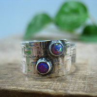 Stacking Wrap Ring Silver MMS 38 Fire Opal