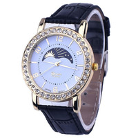 Half Moon - Sun Face Print Leather Women Watch