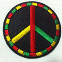 Peace Sign Patch in Rasta Colors