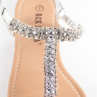 Glitzy Girl Jeweled Thong Sandals - Silver