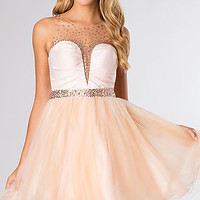 Short Sleeveless Embellished Dress with Sheer Back by Rachel Allan