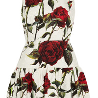 Dolce & Gabbana - Floral-print cotton-blend brocade mini dress