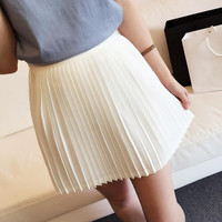 Fashion Solid Color Pleated A-Line Skirt