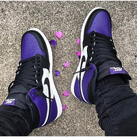 Nike Air Jordan 1 Fashion Women Men Casual High Help Sport Shoes Sneakers(Black&Purple)