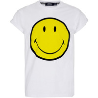 TOPMAN White Smiley Hi Roll T-Shirt