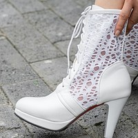 New cross strap thick heel waterproof platform high heel leather boots shoes