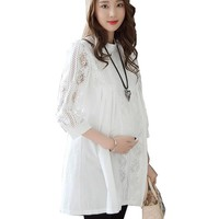 Elegant Pregnant Women Tops Lace White Shirts Fashion Solid Hollow Out Maternity Blouses