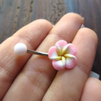 Belly Button Ring Jewelry. Light Pink Plumeria Hawaiian Flower Belly Button Ring Hawaii Navel Stud Jewelry Bar Piercing Tropical Hibiscus