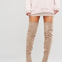 Daisy Street Taupe Heeled Over The Knee Boots at asos.com