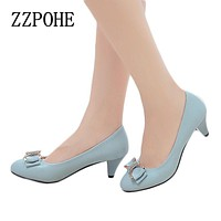 Spring and autumn new mother fashion shoes bow sexy high heels with large size banquet ladies shoes Woman shoes