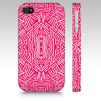 Hipster iPhone case, tribal iPhone 4s case, iPhone 5 case, fashion tribal aztec pattern design in coral pink, trendy art for your phone