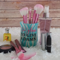 Makeup Brush Holder, Makeup Organizer, Vanity Organizer, Pen Holder Organizer, Cosmetic Organizer, Zebra Stripes - Too Glam to Give A Damn