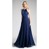 Halter Lace Top Long Formal Dress Keyhole Neckline and Back Navy Blue