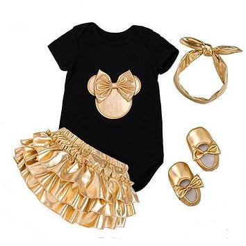 Baby Girl Golden Romper Shorts+Shoes+Onesuits