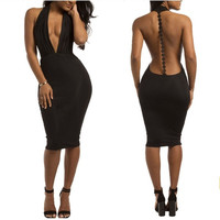 women sexy backless deep V-neck bandage dress night club wear = 1958001732