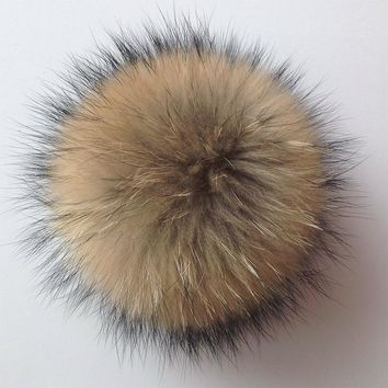 Natural Raccoon Fluffy Fur Pompon Hats Real Fur Big Ball Pom Pom Caps Accessories for Skullies Knitted Beanies Hat 13cm to 14cm