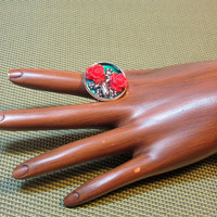 Frog Among Roses Ring by hmpietz on Etsy