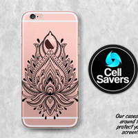 Black Lotus Clear iPhone 6s Case iPhone 6 Case iPhone 6 Plus iPhone 6s Plus iPhone 5c iPhone 5 iPhone SE Lotus Flower Henna Floral Boho Cute