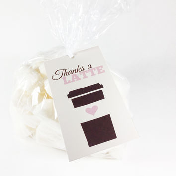 """Thanks a Latte"" Thank You Gift Tags and Bags, Set of 24"