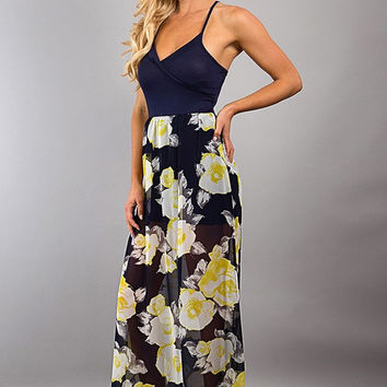 Spaghetti Strap Dress With Floral Skirt