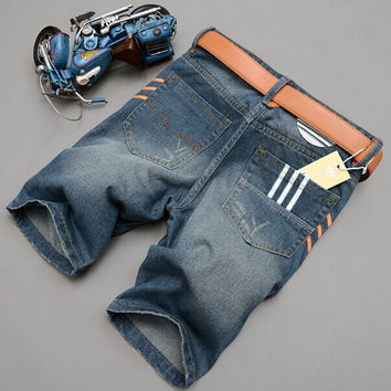Summer Denim Slim Pants Men Blue Korean Shorts [6034436801]
