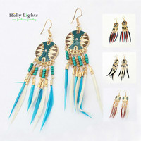 women boho feather dangle earring set ethnic bohemia multicolor drop earring tribal african black brown marine blue plume charm
