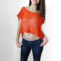 FREE SHIPPINGPure cotton crop top Orange knit top Boho lace top Knit womens short blouse Crop tank Spring Summer tank Sleeveless crop blouse