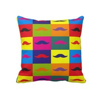 """Funny Pop art mustache,""""Andy Warhol""""'s style Pillow from Zazzle.com"""