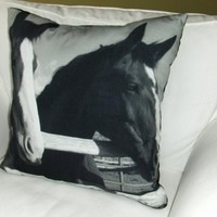 Horse Pillow Modern Graphic equestrian gifts by otradausa on Etsy