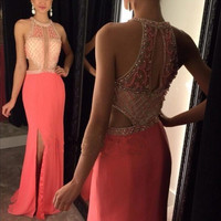 Vestido De Festa Halter Sleevelsss Beaded Sparkly Pink Chiffon Long Evening Dresses Elegant Mermaid Prom Party Gown Dress ZA904
